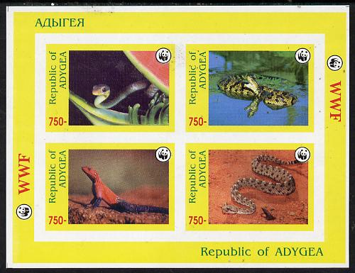 Adigey Republic 1996 WWF imperf sheetlet containing complete set of 4 Reptiles unmounted mint