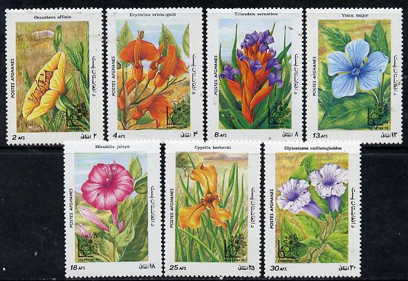 Afghanistan 1985 Argentina 85 Stamp Exhibition (Flowers) perf set of 7, unmounted mint SG 1036-42*