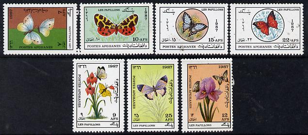 Afghanistan 1987 Butterflies & Moths perf set of 7 unmounted mint SG 1156-62*