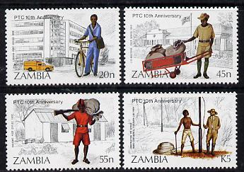 Zambia 1985 Posts & Telecommuniucations set of 4 unmounted mint, SG 441-44*