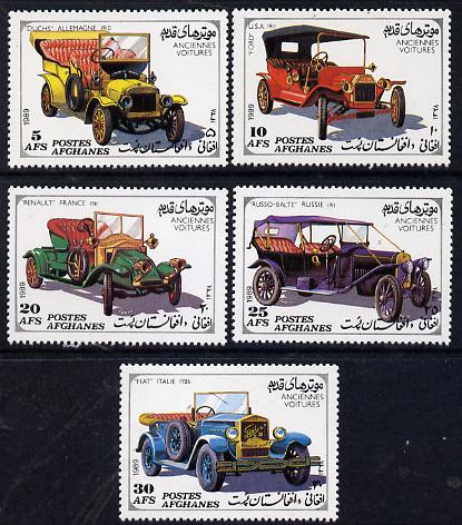 Afghanistan 1989 Vintage Cars perf set of 5 unmounted mint, SG 1278-82*, stamps on cars    duchs    renault    ford    fiat    russo-balte