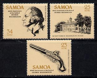 Samoa 1982 George Washington set of 3 unmounted mint SG 612-14