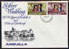 Anguilla 1972 Royal Silver Wedding set of 2 on illustrated cover with first day cancel, stamps on royalty, stamps on silver wedding
