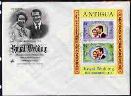 Antigua 1973 Royal Wedding m/sheet optd for Honeymoon Visit (SG MS 375) on illustrated cover with first day cancel, stamps on royalty, stamps on anne, stamps on mark