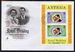 Antigua 1973 Royal Wedding m/sheet on illustrated cover with first day cancel, stamps on royalty, stamps on anne, stamps on mark
