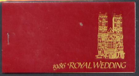 Booklet - St Lucia 1986 Royal Wedding (Andrew & Fergie) $9.60 booklet (SG SB2) Westminster Abbey in gold, panes perforated