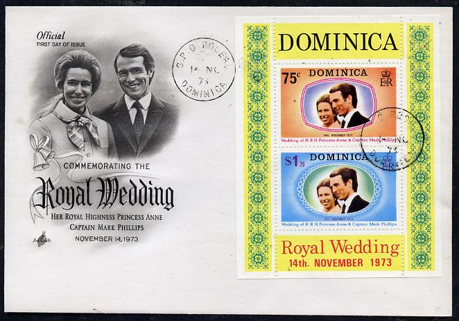 Dominica 1973 Royal Wedding m/sheet on illustrated cover with first day cancel