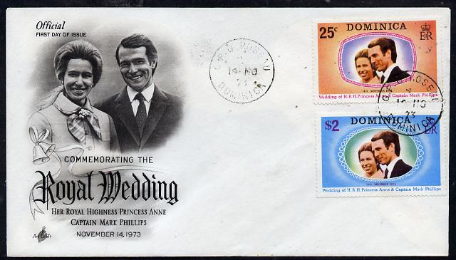 Dominica 1973 Royal Wedding set of 2 on illustrated cover with first day cancel