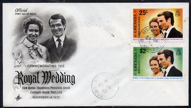 Grenada - Grenadines 1973 Royal Wedding perf set of 2 on illustrated cover with first day cancel