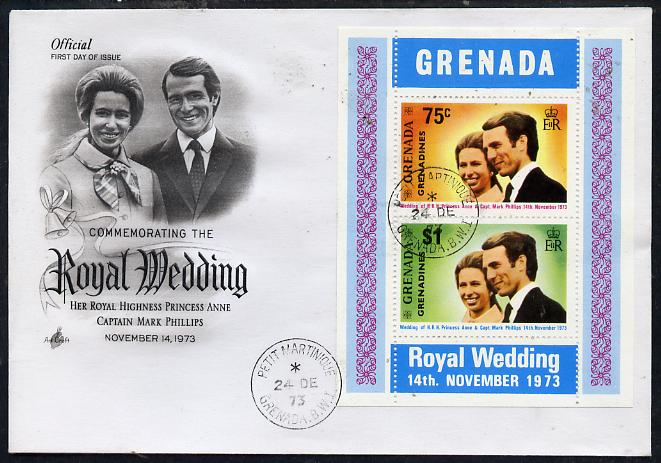 Grenada - Grenadines 1973 Royal Wedding m/sheet on illustrated cover with first day cancel