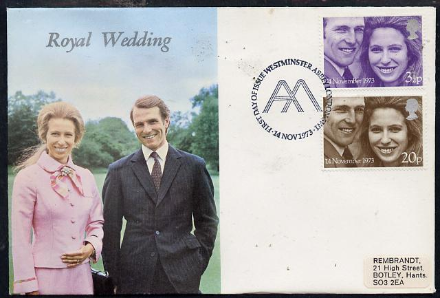 Great Britain 1973 Royal Wedding set of 2 on illustrated cover with first day cancel