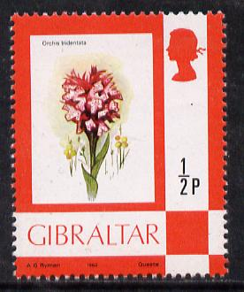 Gibraltar 1977 Flower def 0.5d (Orchid) on chalky paper unmounted mint, SG 374a*
