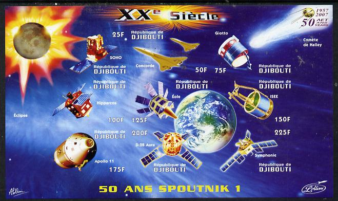 Djibouti 2009 50th Anniversary of Sputnik #02 imperf sheetlet containing 9 values unmounted mint