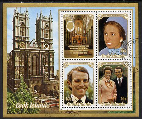 Cook Islands 1973 Royal Wedding m/sheet fine cds used (SG MS 453)