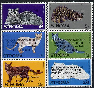 Stroma 1969 Cats perf set of 6 opt'd for Investiture of Prince of Wales unmounted mint*