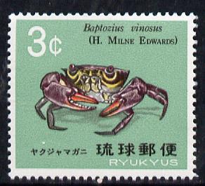 Ryukyu Islands 1968 Crabs (3c Baptozius vinosus) unmounted mint SG 210*