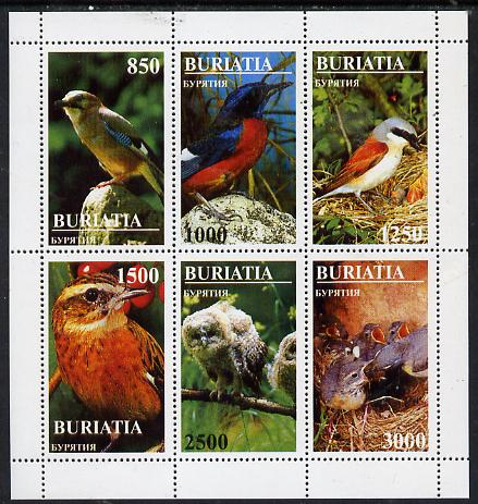 Buriatia Republic 1997 Birds perf sheetlet containing complete set of 6 unmounted mint