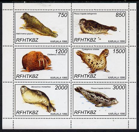 Karjala Republic 1997 Seals perf sheetlet containing complete set of 6 unmounted mint