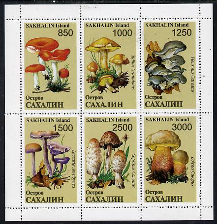 Sakhalin Isle 1997 Mushrooms perf sheetlet containing complete set of 6, unmounted mint