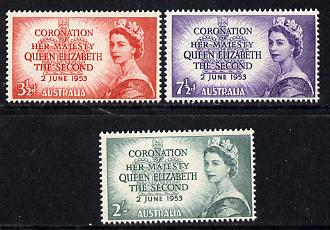 Australia 1953 Coronation set of 3 unmounted mint (SG 264-66)