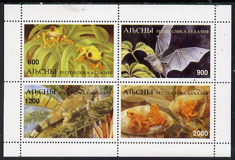 Abkhazia 1997 Bats & Frogs perf sheetlet containing complete set of 4 values unmounted mint, stamps on bats    frogs    animals       amphibians  mammals