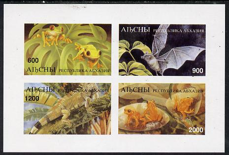 Abkhazia 1997 Bats & Frogs imperf sheetlet containing complete set of 4 values unmounted mint, stamps on bats    frogs    animals        amphibians   mammals