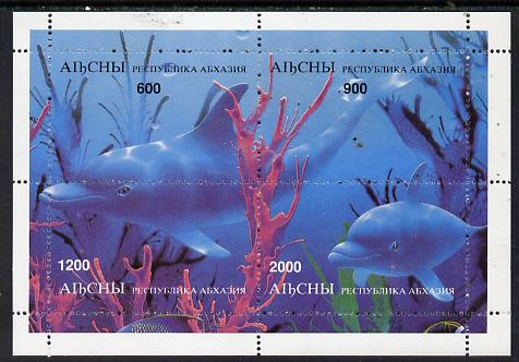 Abkhazia 1997 Dolphins perf sheetlet containing complete set of 4 values unmounted mint, stamps on dolphins    whales    animals  marine-life