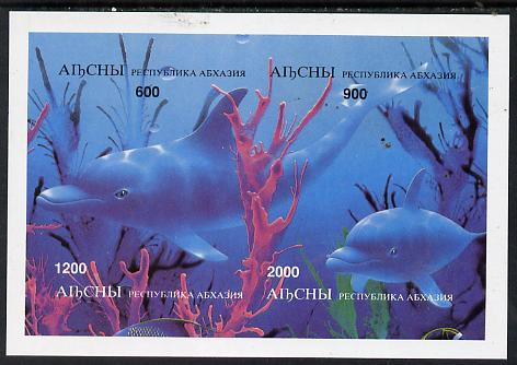 Abkhazia 1997 Dolphins imperf sheetlet containing complete set of 4 values unmounted mint, stamps on dolphins    whales    animals  marine-life