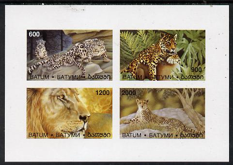 Batum 1997 Big Cats imperf sheetlet containing complete set of 4 values unmounted mint