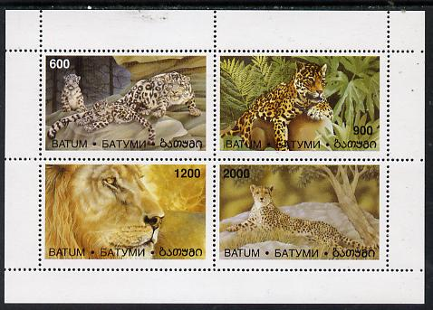 Batum 1997 Big Cats perf sheetlet containing complete set of 4 values unmounted mint