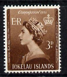 Tokelau 1953 Coronation 3d brown unmounted mint SG 4*