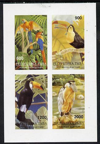 Touva 1997 Tropical Birds (Parrots, etc) imperf sheetlet containing complete set of 4 values mounted mint
