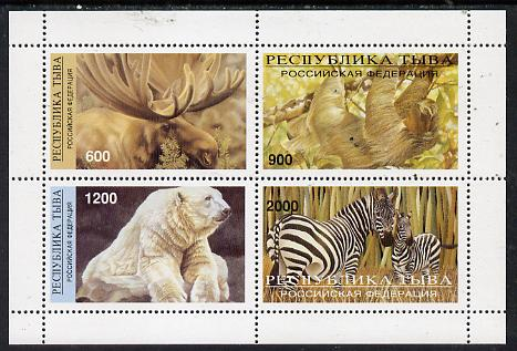 Touva 1997 Animals perf sheetlet containing complete set of 4 values, stamps on animals    bear    zebra       elk
