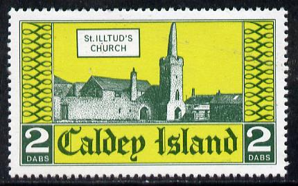 Caldey Island 1976 St Illtud's Church 2 dabs value unmounted mint*