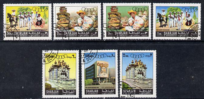 Sharjah 1967 Olympic Preparation set of 7 cto used, Mi 356-62*