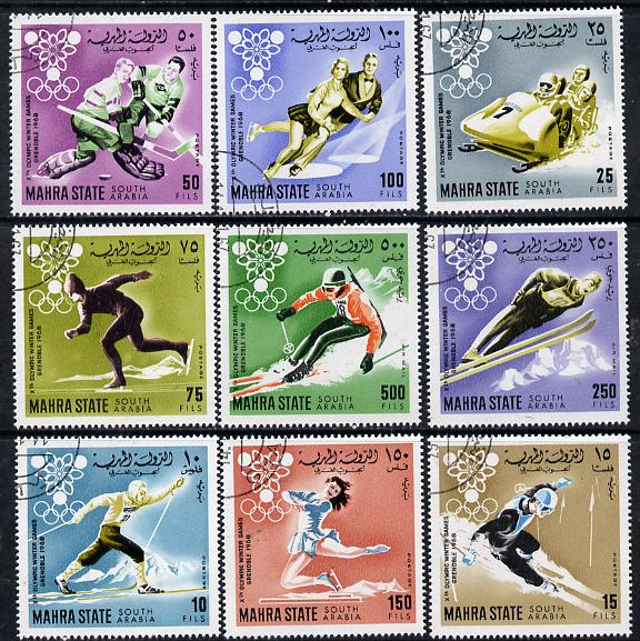 Aden - Mahra 1967 Grenoble Winter Olympics perf set of 9 cto used, Mi 39-47A*