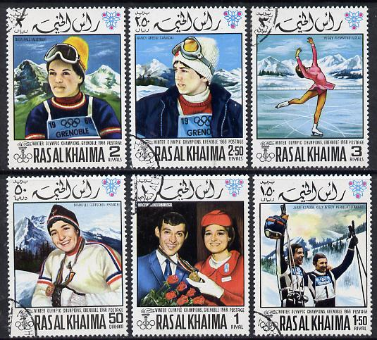 Ras Al Khaima 1968 Grenoble Winter Olympics perf set of 6 cto used, Mi 253A-258A*, stamps on olympics  sport