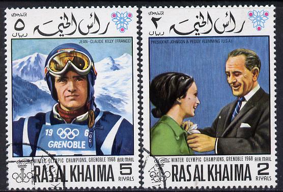 Ras Al Khaima 1968 Grenoble Winter Olympics perf set of 2 cto used, Mi 345A-346A*