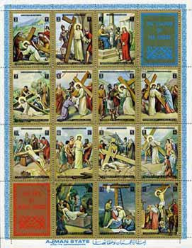 Ajman 1972 Life of Christ - Stations of The Cross sheetlet containing 14 values plus 2 labels cto used, Mi 2965-78A