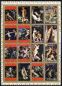 Ajman 1972 Paintings of Nudes, set of 16 cto used, Mi 2555-70A
