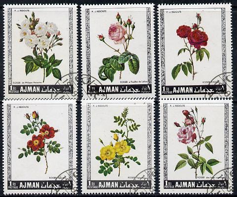 Ajman 1969 Roses set of 6 cto used, Mi 405-410*