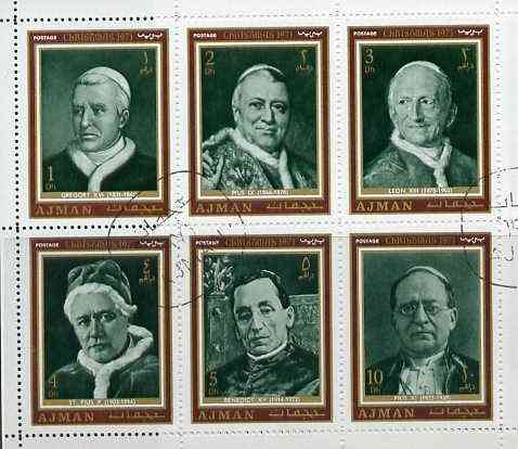 Ajman 1971 Christmas Postage set of 6 Popes in sheetlet of 6 cto used, as Mi 947-52 (uncut sheet of 24 (4 sets) available pro-rata), stamps on religion    personalities    pope    christmas