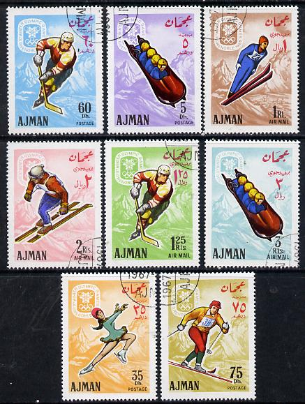 Ajman 1967 Grenoble Winter Olympics set of 8 cto used (Mi 199-206A)*