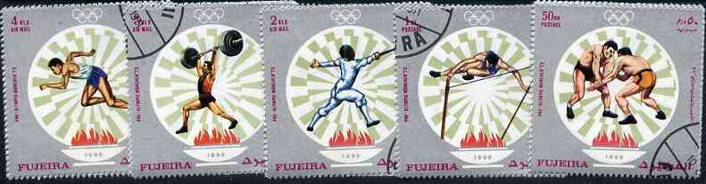 Fujeira 1971 Munich Olympics perf set of 5 cto used (Mi 673-77A)