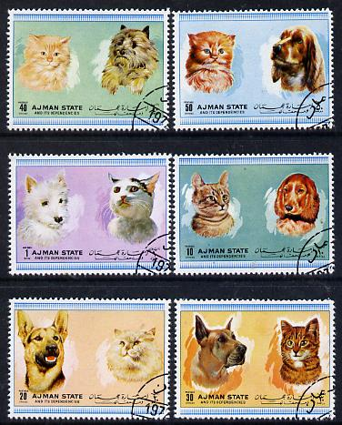 Ajman 1972 Cats & Dogs set of 6 cto used (Mi 1762-67A)