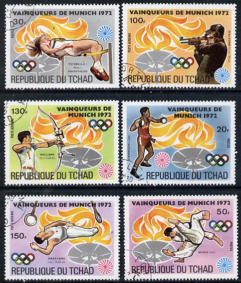 Chad 1972 Munich Olympic Winners (background symbol of Olympic Flame) set of 6 cto used