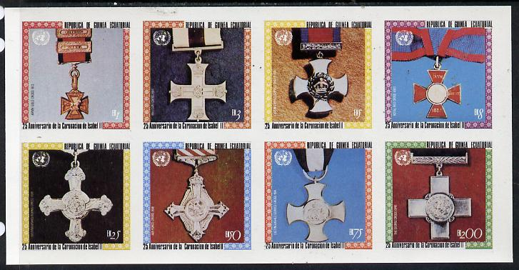 Equatorial Guinea 1978 Coronation 25th Anniversary (Medals) imperf set of 8 (Mi 1386-93B) unmounted mint
