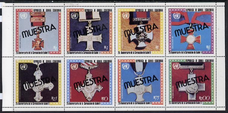 Equatorial Guinea 1978 Coronation 25th Anniversary (Medals) perf set of 8 opt'd MUESTRA (as Mi 1386-93A) unmounted mint
