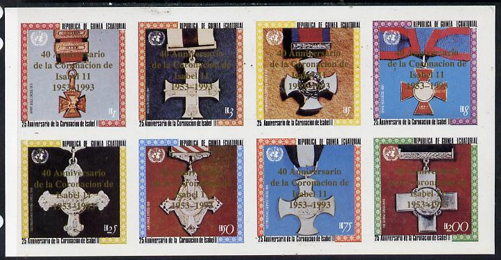 Equatorial Guinea 1993 Coronation 25th Anniversary (Medals) imperf set of 8 opt'd for 40th Anniversary of Coronation in gold unmounted mint