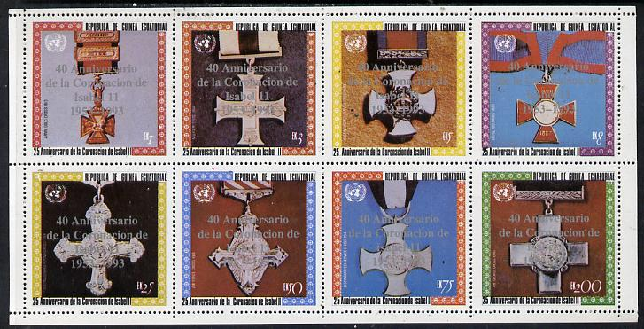 Equatorial Guinea 1993 Coronation 25th Anniversary (Medals) perf set of 8 opt'd for 40th Anniversary of Coronation in silver unmounted mint